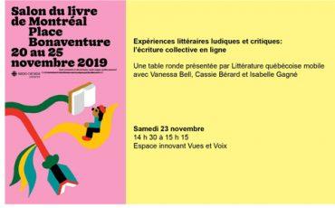 Isabelle Gagné au Salon du livre de Montréal pour représenter le MAM avec le projet Particules: correspondances inattendues