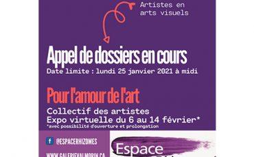 Appel de dossiers – Exposition collective – Pour l'amour de l'art – 2021/Limite 25 janvier