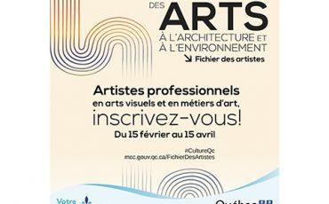 Artistes professionnels en arts visuels et en métiers d'arts, inscrivez-vous au Fichier des artistes/Limite 15 avril