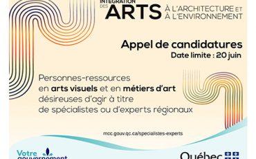 Appel de candidatures des professionnels des arts visuels et des métiers d'art/Limite 20 juin